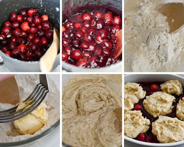 6 process shots showing each step for making this cherry cobbler recipe