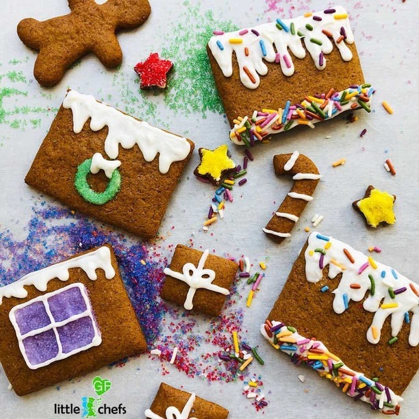 pieces of gingerbread house laid out