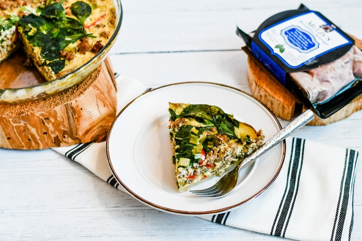 quiche on a plate made with mulay's breakfast sausage