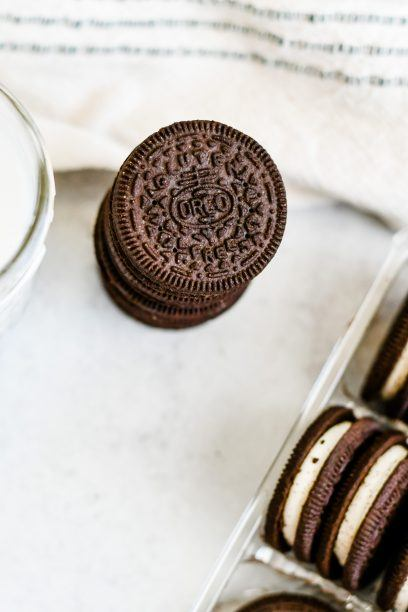 stack of gluten free oreo cookies on a table
