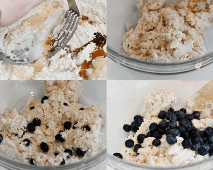 process shots of making gluten free lemon blueberry scones
