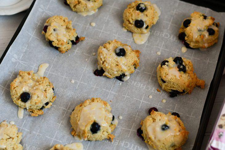 lemon blueberry scones on a sheet pan