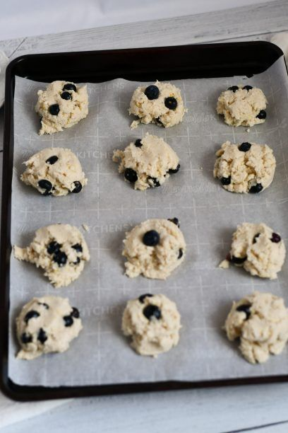 Process shot of blueberry scones before going into the oven