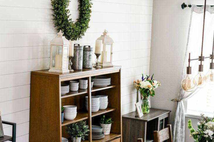 dining room makeover with shiplap