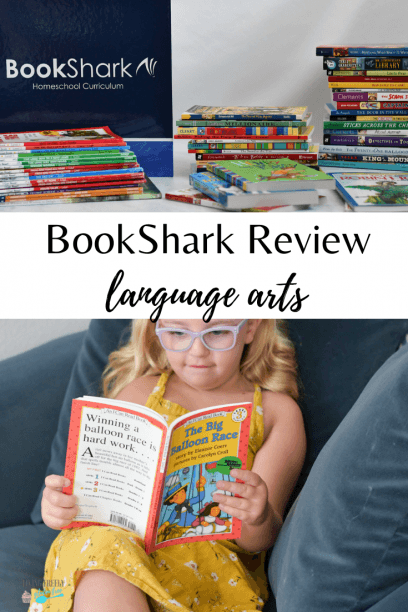 child sitting on a chair reading from bookshark language arts curriculum