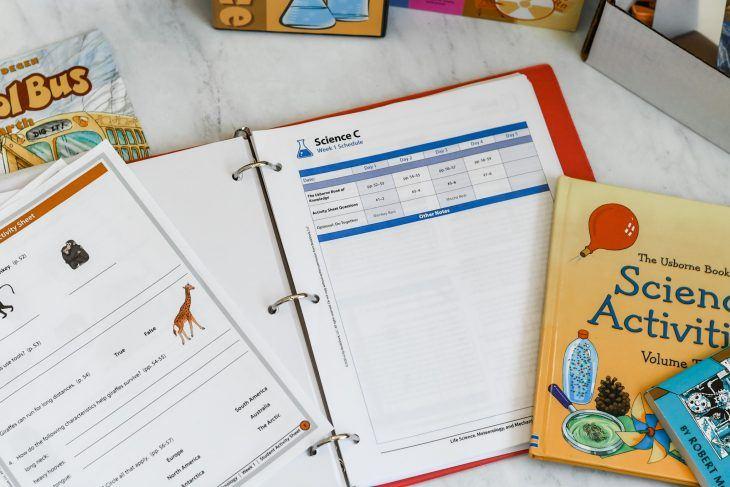 bookshark science curriculum on the table