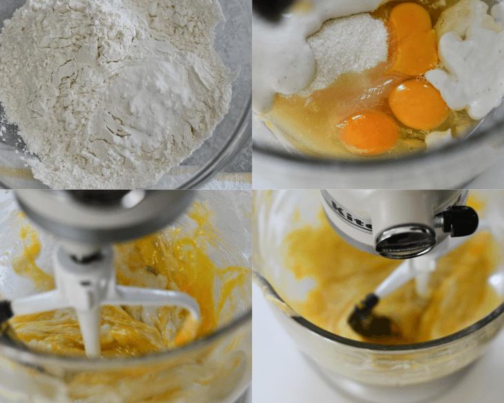 process shots of gluten free lemon loaf