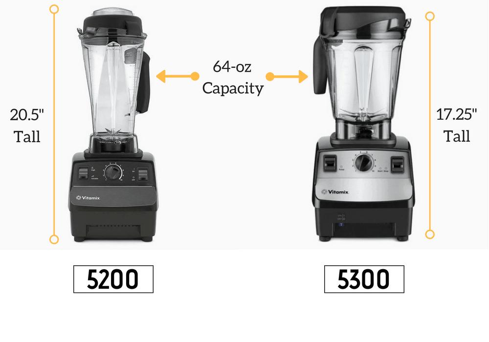 Vitamix 5200 and 5300 pitcher size comparison