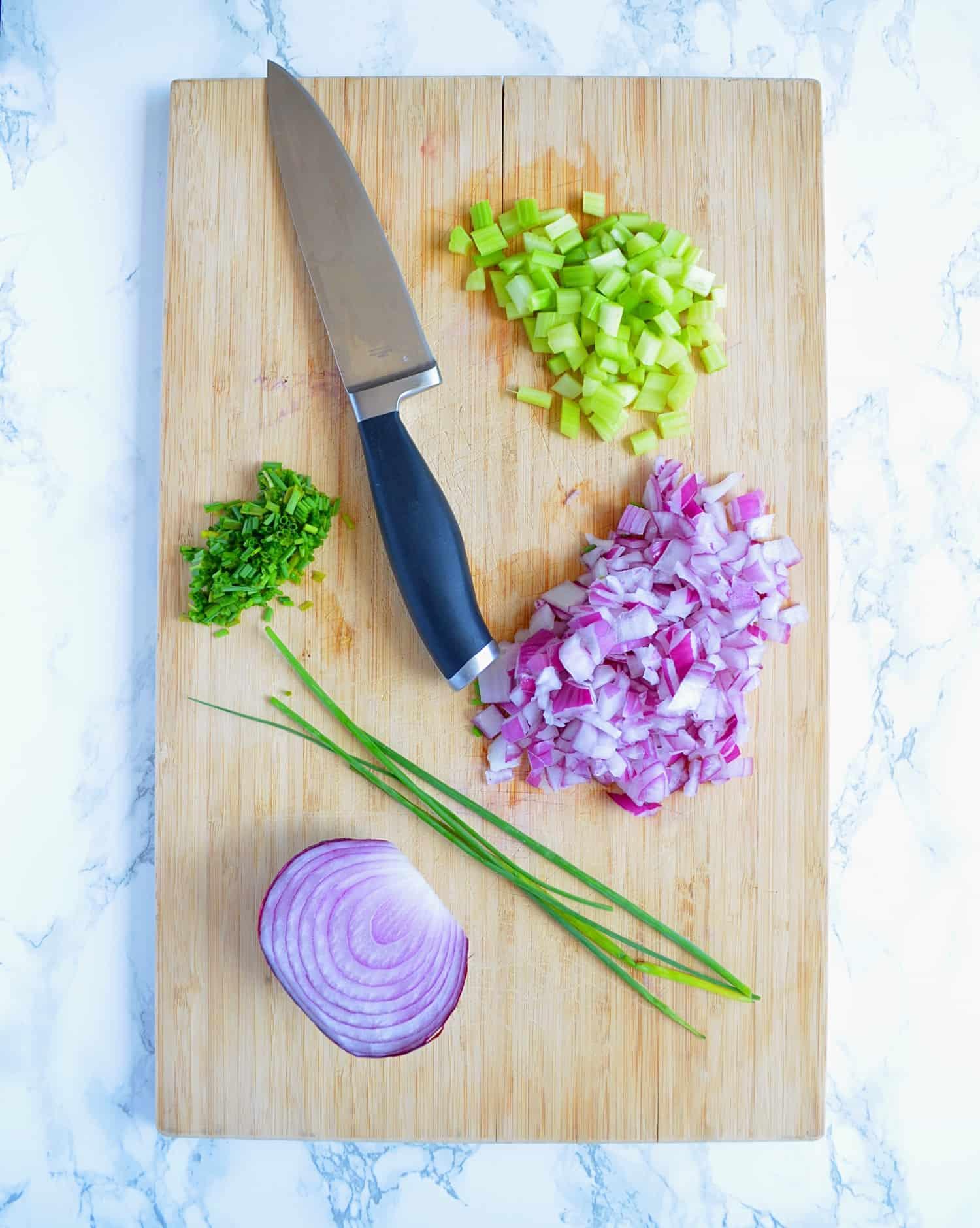 vegan potato salad prep