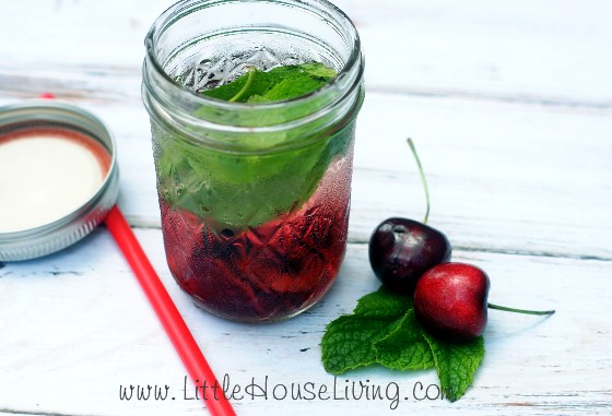 Detox water for weight loss with cherry and mint
