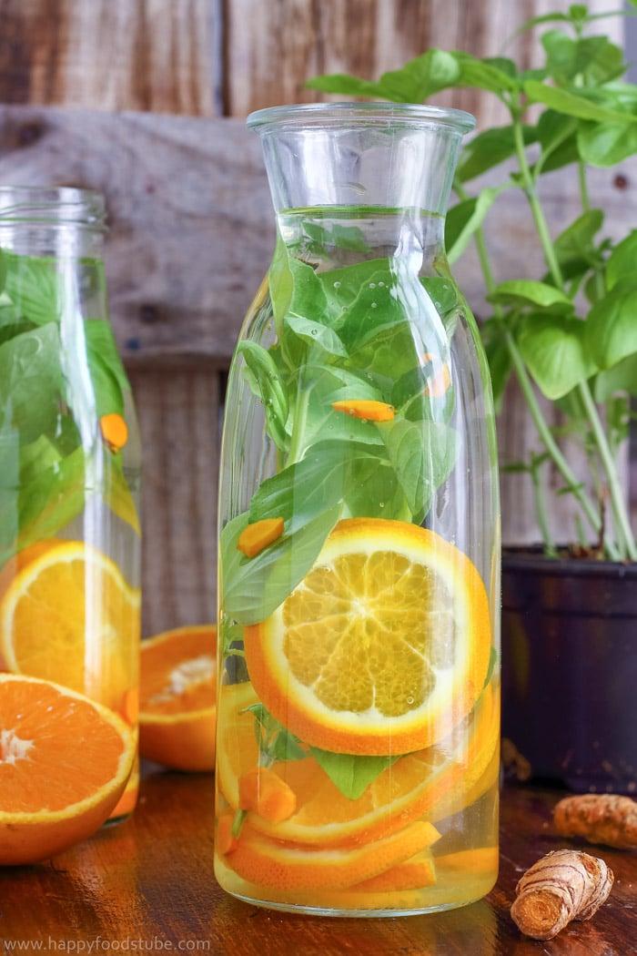 Orange Basil Detox Water For Weight Loss