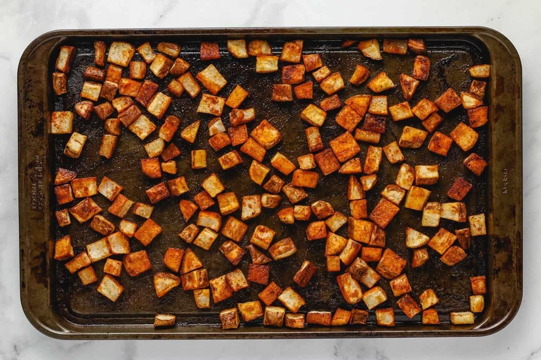 bake potatoes until crispy