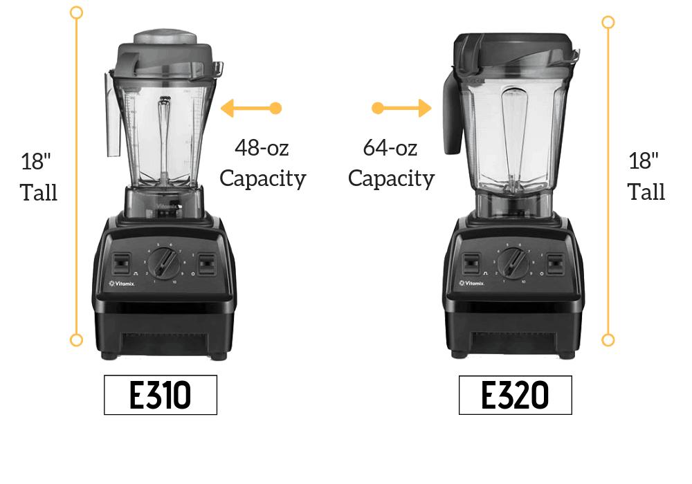 Vitamix E310 vs E320 size comparison