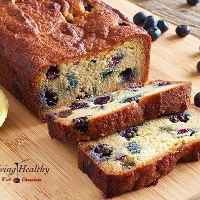 Paleo Blueberry Bread with Lemon Glaze