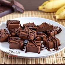 Frozen Peanut Butter, Chocolate & Banana Fudge Bites
