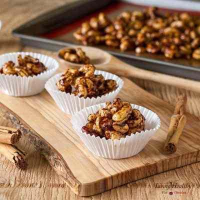 Healthy Cinnamon Sugar Candied Cashews (gluten-free, sugar-free, egg-free, Paleo)