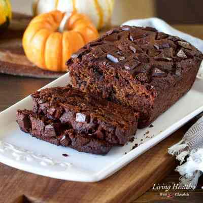 Chocolate Pumpkin Bread (gluten/grain/dairy-free, Paleo) by #LivingHealthyWithChocolate