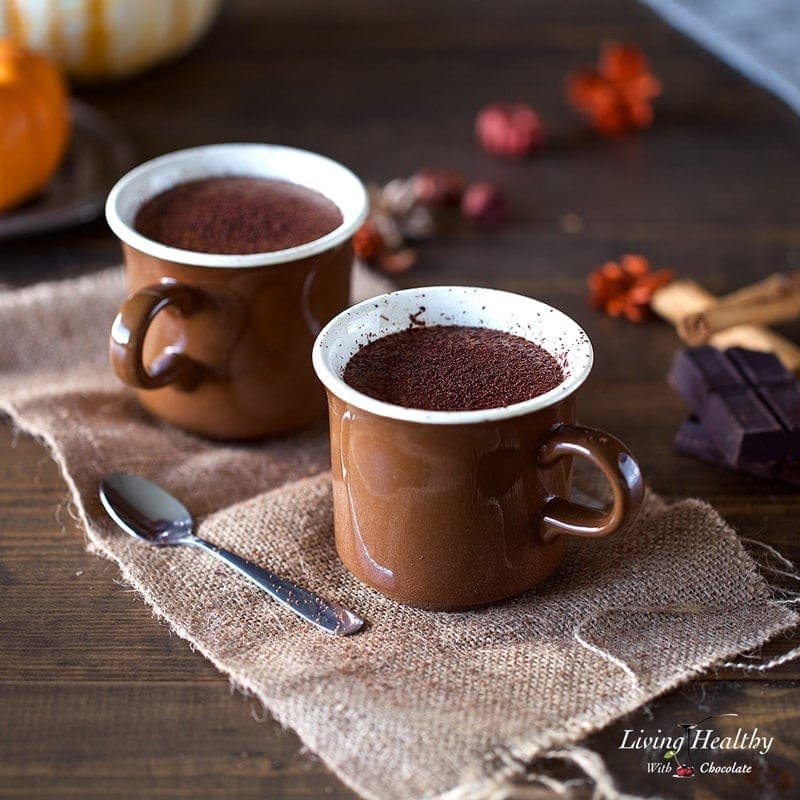 Pumpkin Hot Chocolate with Homemade Almond/Coconut Milk Recipe by #LivingHealthyWithChocolate