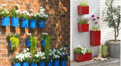 Adding colorful boxes to the wall can work as garden and space decoration.
