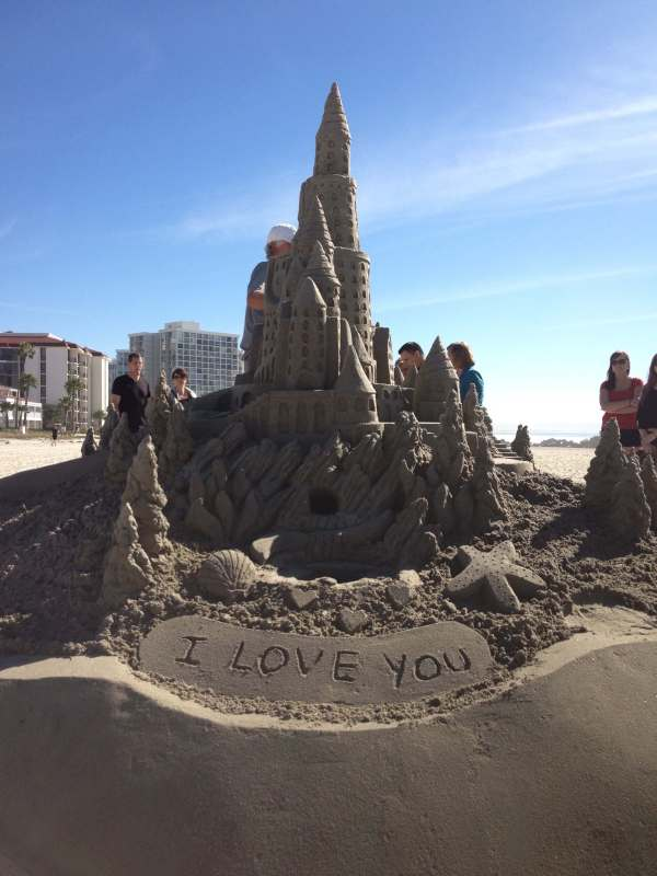 Sand Castle on Coronado Shores - a favorite place for elaborate proposals of marriage and scenic weddings.