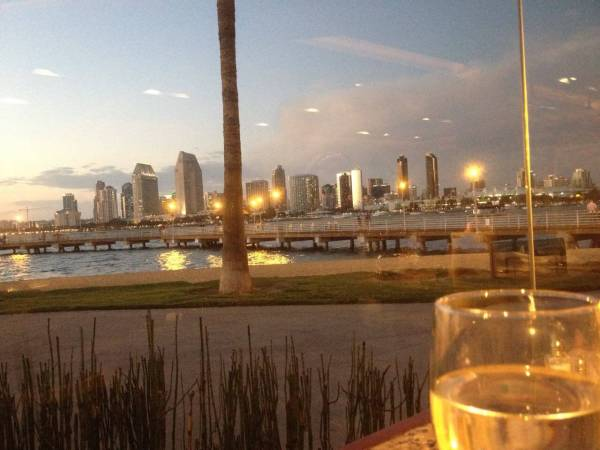 San Diego skyline captured during Happy Hour at Candela's in Coronado.