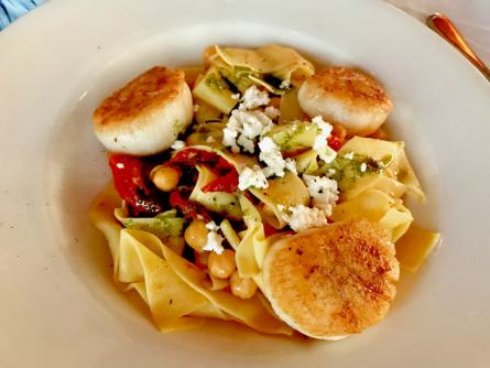Seared Sea Scallops, Orecchiette pasta w/ butternut squash, speck, & walnuts, finished in sage butter