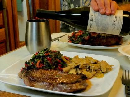 Steak dinner with sautéed red chard and lion's mane mushrooms