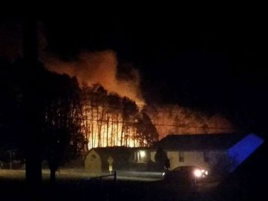 Night-time fires north of Telico Plains Tennessee