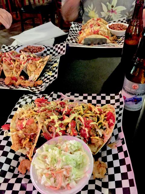 (Shrimp tacos at Tropical Traders)