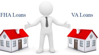 Cartoon man with arms spread wide with a house on each side. One labeled FHA Loans and the other VA Loans