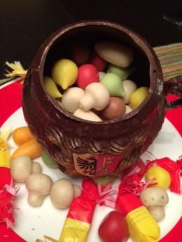 Chocolate Cauldron and Marzipan vegetables