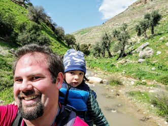Hiking with kids along olive trees in Northern Jordan