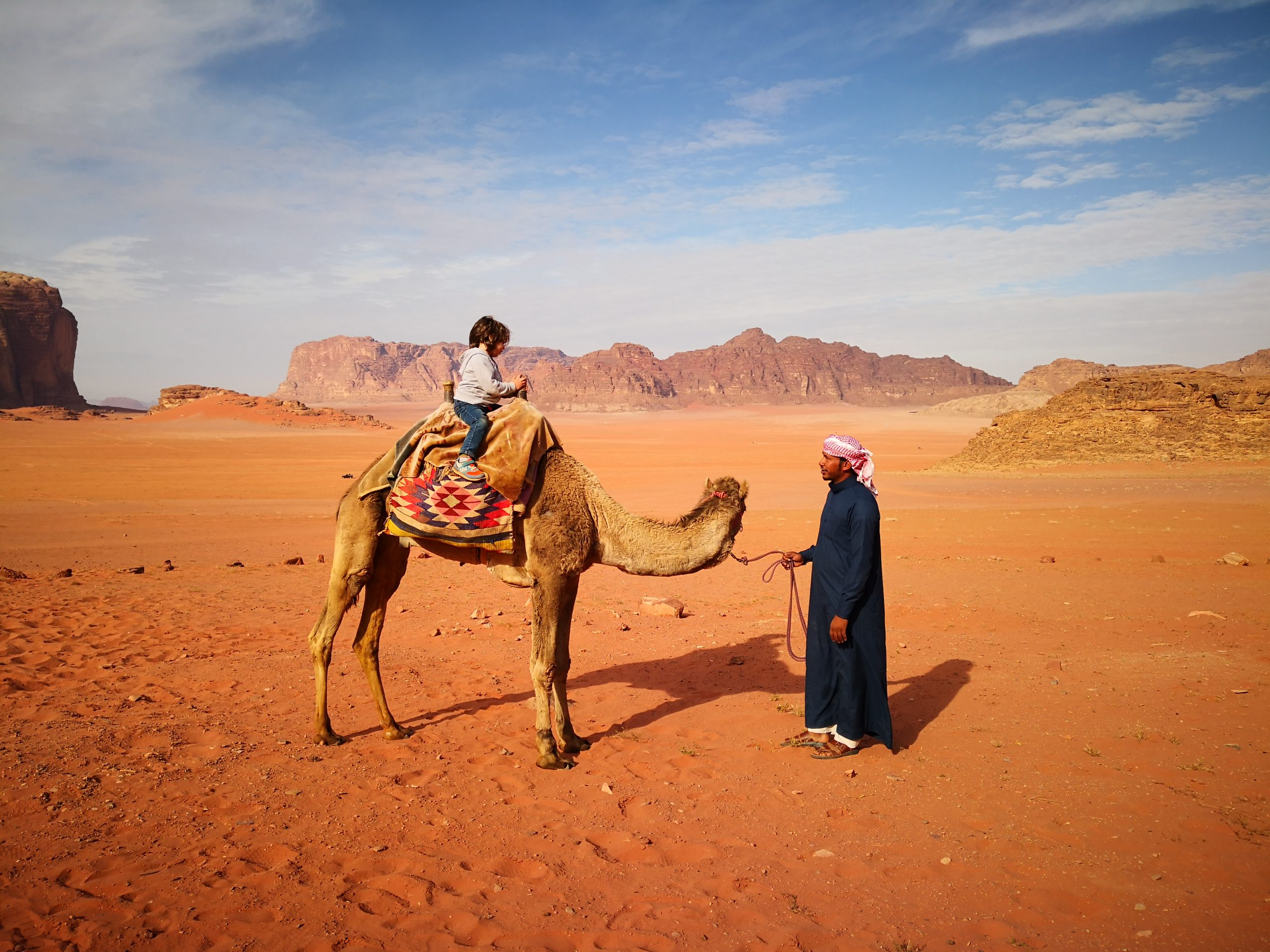 Child on Camel with Bedouin in Wadi Rum Jordan