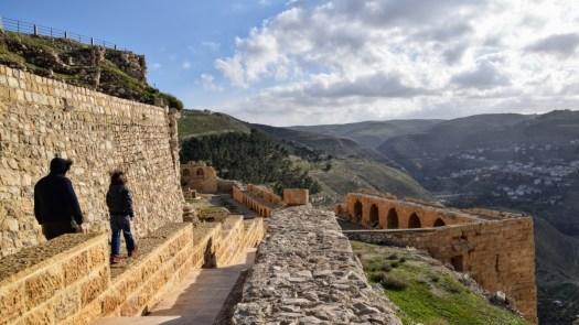 Walking along the Karak Castle ruins