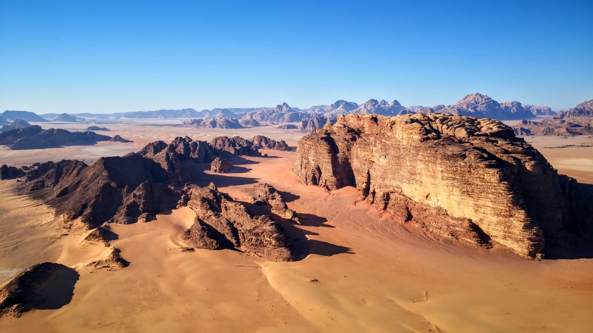 Views over Wadi Rum from the Hot Air Balloon