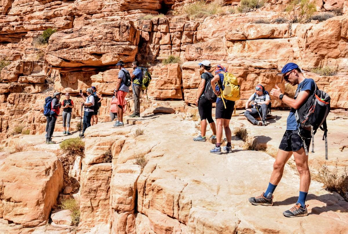 Hikers at Wadi Malaga, Jordan Trail