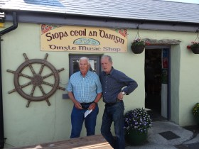 Dad and Michael, owner of Dingle's best music shop