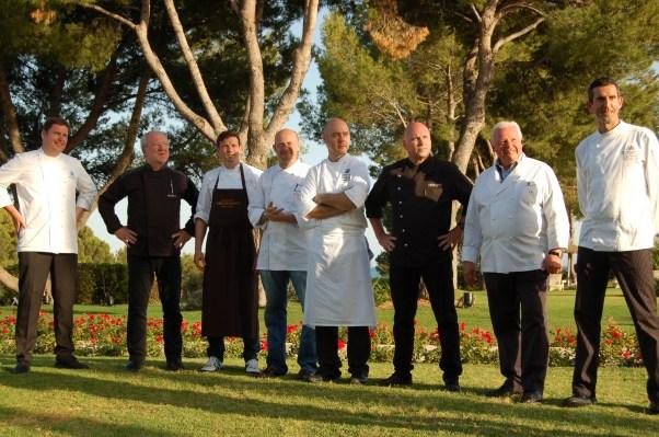 Eight chefs, one exceptional dinner, no power cut.  L-R: Martin Fauster, Otto Koch, Christian Juergens, Thomas Kammeier, Thomas Kahl (Es Fum, Mallorca), Marc Fosh (Simply Fosh, Palma de Mallorca), Eckart Witzigmann, and Iker Gonzalez