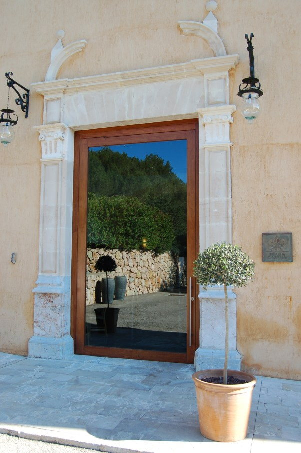 Entrance of Son Brull Hotel & Spa - voted in top 20 hotels in Europe by readers of Conde Nast Traveller magazine (UK).