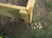 The corner joints of our raised beds.