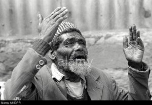 A183PR A destitute man complaining.Addis Ababa. Ethiopia. Image shot 2006. Exact date unknown.