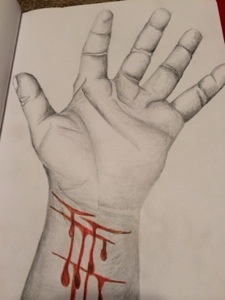 New #selfharm coping tool. I trace my hand then SI on the drawing (2/2)