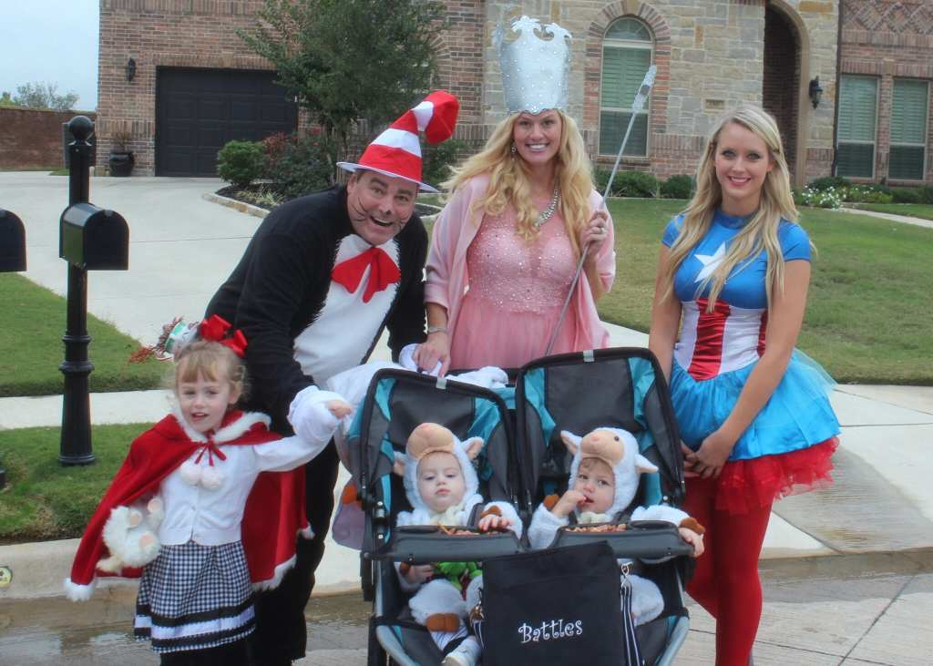 Justin (Cat in The Hat), Me (Magdalena- dressed as Glenda the good witch), Taylor (Captain America), Brielle (who dressed as Cindy Lou Whoo from The Grinch), Charlie, and Alex (my little sheep).