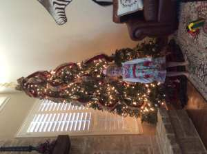 The big tree in the main area of our house. Amazingly the twins are listening and not destroying it this year. They have taken ornaments off, but I ask them firmly yet nicely to put them back and they do!