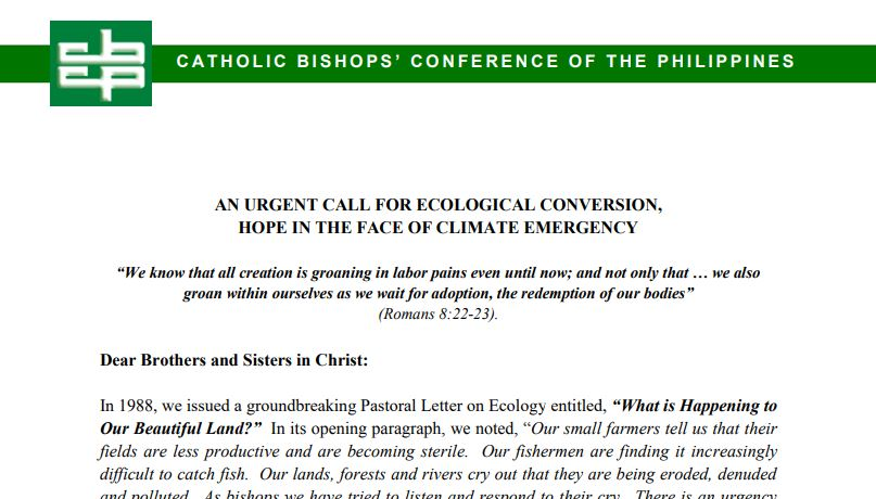 One Year of CBCP Pastoral Letter on Ecology in Light of the COVID-19 Pandemic