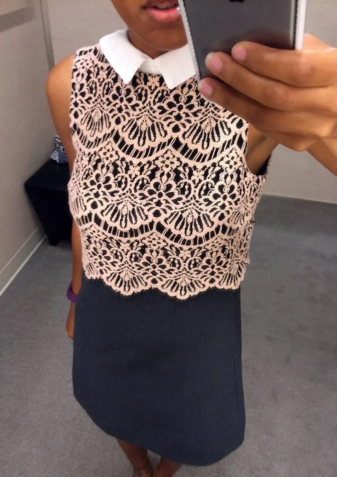 Halogen® Collared Lace Sheath Dress (Regular & Petite)