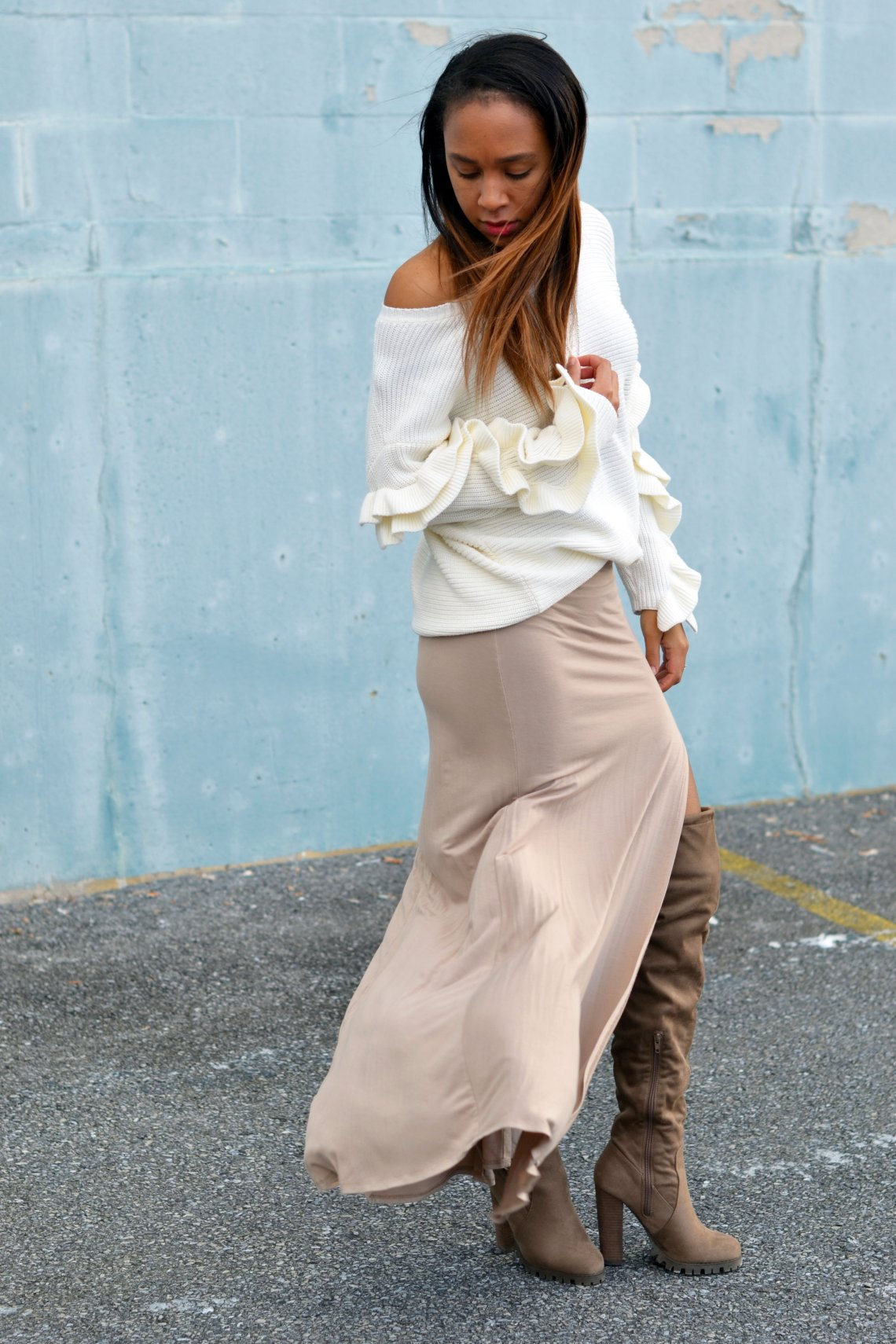 winter outfit with ruffles