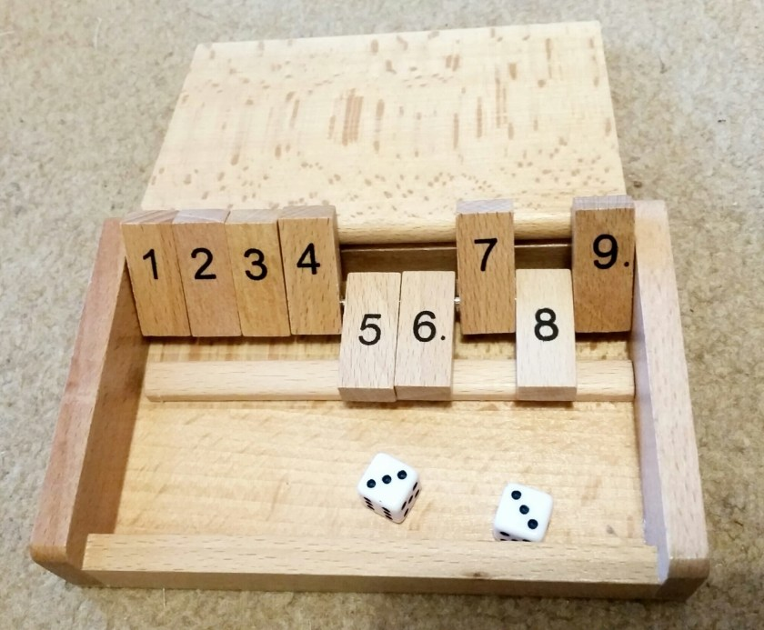 Shut the box, review, wooden game, educational game, dice game, travel game, family fun, maths, number bonds, calculating, living life our way