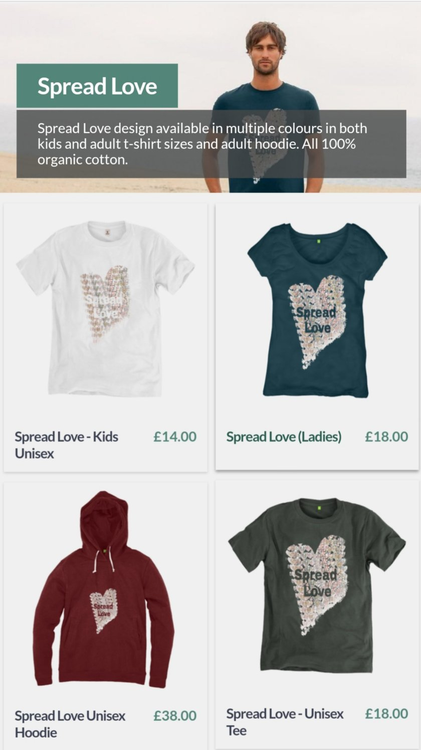 sustainable, ethical, eco, fashion, clothing, spread love, hoodie, t shirt, kids top, adult tee