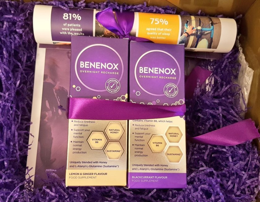 Benenox in two flavours presented in a pretty purple box